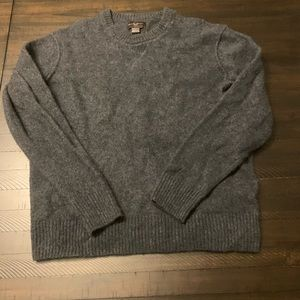 Black Brown Lambswool Crewneck Sweater